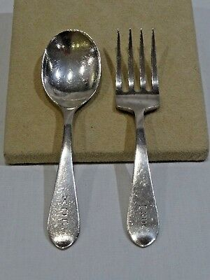 Vintage Stieff Sterling Silver Baby Fork and Spoon Set 4 1/2""