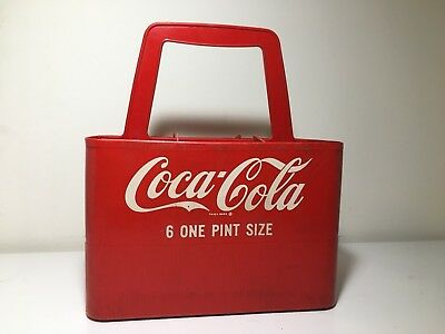 Vintage Red Plastic Coke Coca Cola 6 One Pint Size Carrier Carry Handled Case