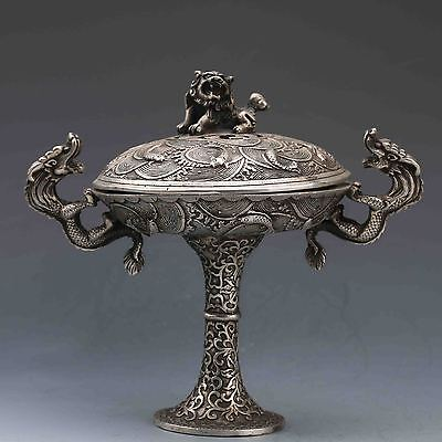 Chinese Tibetan Silver Hand-Carved Dragon Incense Burner & Lion Lid G608