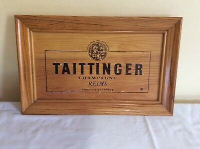 Taittinger Champagne Vintage Wooden Advertising Sign