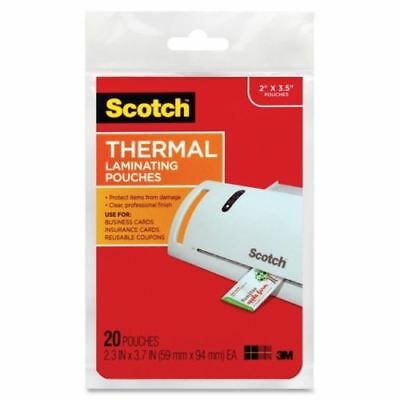 "3M Scotch TP5851-20 Thermal Laminating Pouches Buisness Card 2.36"" x 3.75"" 20pk"