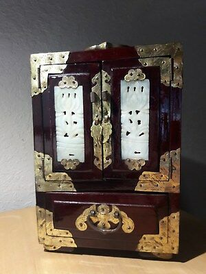 VintageChinese Jewelry Box Chest with Carved Jade and Brass Accents.