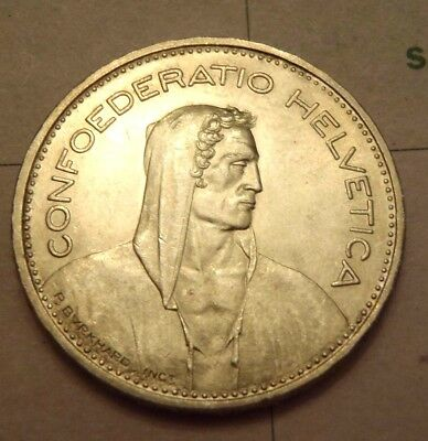 1940-B Switzerland 5 FR Francs .835 Silver Coin A157 Uncirculated