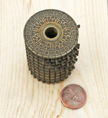 Antique Industrial Time Clock Set Control Brass Cylinder Steampunk Lamp Part