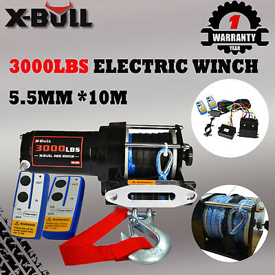 X-BULL 12V 3000LBS/1360KG Electric Winch Synthetic Rope 10M Wireless ATV 4WD New