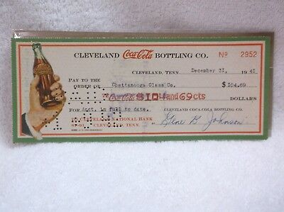 Cleveland Coca Cola Bottling Co Check 1941 Chattanooga Glass Co