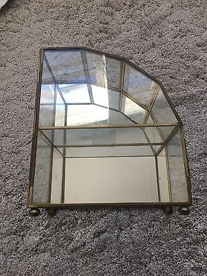Vintage Brass Glass Curio Cabinet Display Case Deco Mirror 2 Shelves