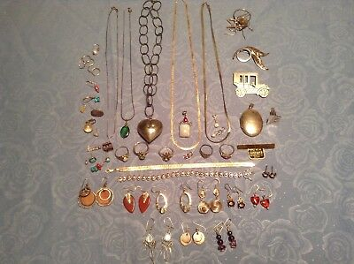 925 STERLING SILVER JEWELRY LOT MOST NOT SCRAP 207.5 Grams Rings Chains Earrings