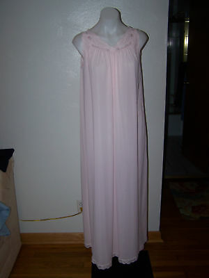 Vintage Shadowline Pink Nylon Lace Long Nightgown S Sissy