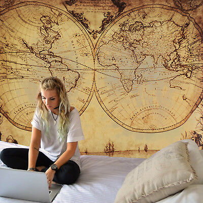 Retro World Map Tapestry Indian Wall Hanging Mandala Bedspread Home Decor Best