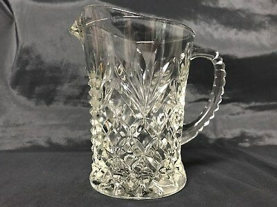 Vintage Depression Era Pressed Glass Small Pitcher Creamer Pineapple Design