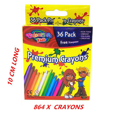 864 X Crayon Crayons With Free Sharpener - Assorted Vibrant Colors Kid Craft Fd