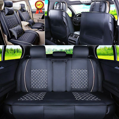From US PU Leather Car Seat Cover 5-Seats SUV Front+Rear Cushion 4 Season Size M