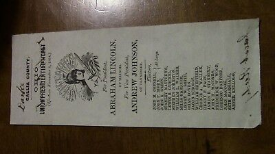 Abraham Lincoln 1864 Original Ballot Ticket Civil War Soldier Signed 186Th Oh