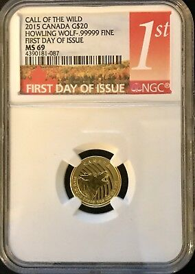 2015 Canada G$20 1/10 oz Howling Wolf First Day of Issue MS 69 NGC #4390181-087