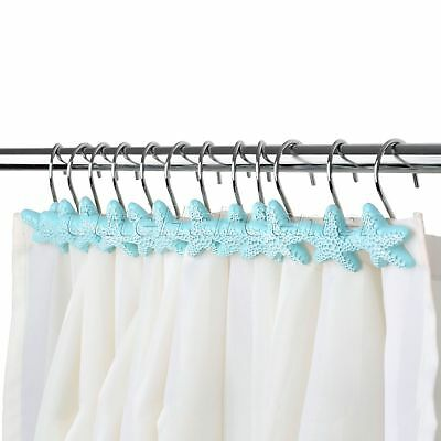 Polished Chrome Rolling Shower Curtain Rings 12 Heavy Duty Hooks High Quality