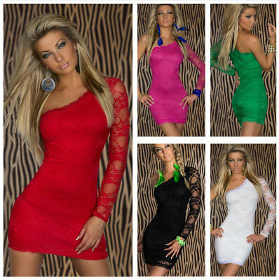 Women Sexy Red Floral Lace One Shoulder Mini Club Dress Plus Size