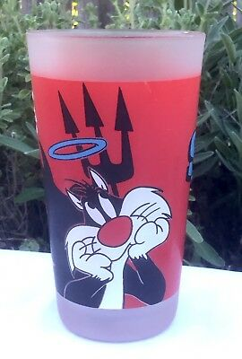 1997 Monkeys Of Melbourne Sylvester The Cat Warner Bros Red Glass Tumbler Cup