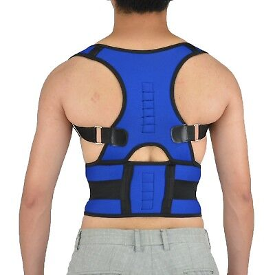 (X-Large, Blue) - Magnetic Posture Corrector Adjustable Waist Lumbar Support