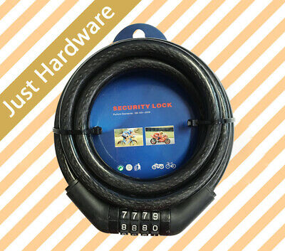 Bike Bicycle Code Combination Lock Black 4 Digit Steel Cable Secure New!!