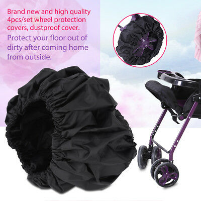 4Pcs Baby Pram Stroller Wheel Anti-Dirty Case Dustproof Fabric Protection Cover