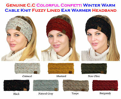 NEW! CC Head Band Colorful Confetti Cable Knit FUZZY LINED Ear Warmer Head Wrap