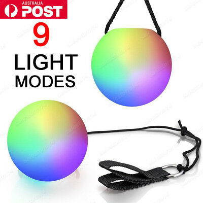 NEW 4 x Colorful LED Glow POI Thrown Balls Light Up For Belly Dance Hand Props