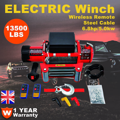 13500LBS 12V Electric Winch Heavy Duty Recovery Wireless Remote 4WD Not 13000LBS