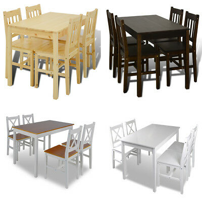 Kitchen Dining Pine Wood Furniture Table and 4 Chairs Natural/Brown/White/Multi