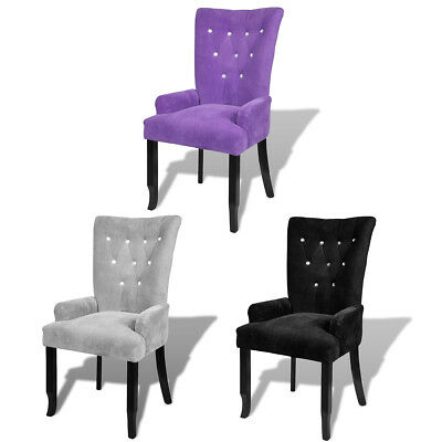 #Luxury High Back Dining Chair Tufted Velvet Accent Armchair Purple/Black/Silver