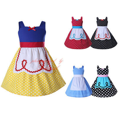 Girls Princess Costume Snow White Cosplay Christmas Party Halloween Fancy Dress