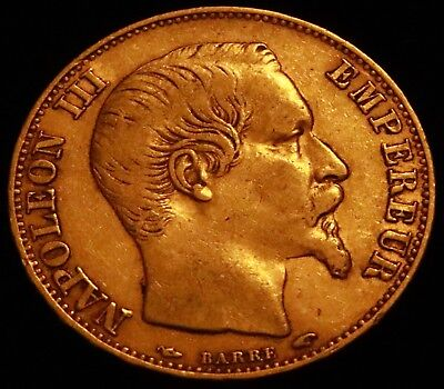 1854-A NAPOLEON III, FRENCH GOLD 20 Franc, SCARCE!  KM# 781.1 (A3086)