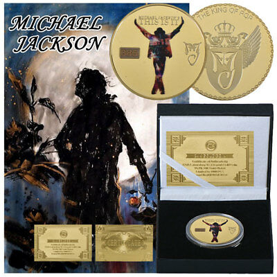 WR MJ GOLD Coin Michael Jackson's This Is It King Pop Music Souvenri /w Gift Box