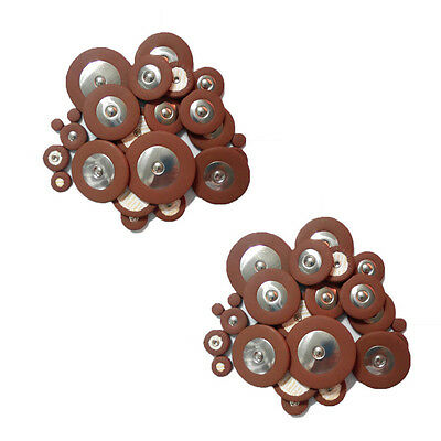 2 Set Professional Genuine Leather Alto Saxophone Sax Pads Pad Replacement Brown