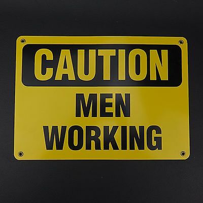 """CAUTION MEN WORKING 10"""" x 14"""" Thick Heavy Metal Sign with Brass Grommets"""