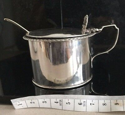 Antique Solid Sterling Silver Mustard Condiment Pot London 1941