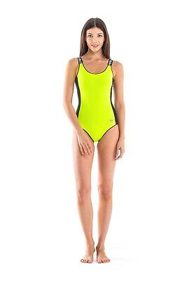 Glidesoul Women's Round Neck Onepiece Swimsuit, Lemon, Medium. Best Price