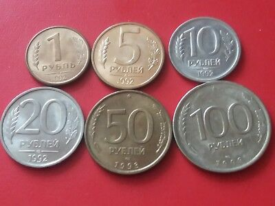 Roubles ruble 1992-1993 Russia * LOT of 6 COINS *