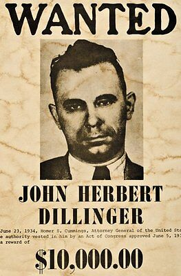 """John Dillinger Mobster Outlaw Wanted Poster  8.5""""x11"""" High Gloss Photo Poster #1"""