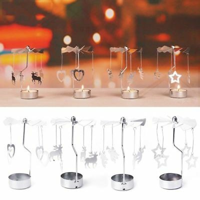 Silver Xmas Rotating Rotary Spinning Merry-Go-Round Tea Light Candle Holder