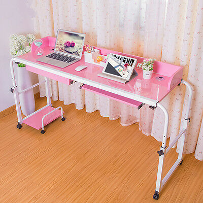 Adjustable Over Bed Table Home Office Working Computer Desk Cart