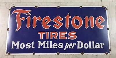 "1940's Vintage Porcelain Firestone Tires Enamel Sign 30""x60"" single sided"