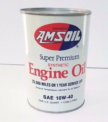 Vintage Amsoil Super Premium Synthetic Oil Quart Can All Metal Unopened