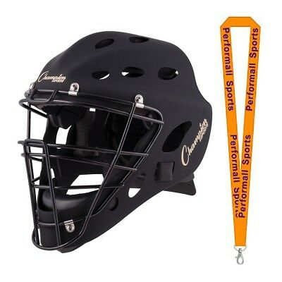 Champion Sports Bundle: Baseball Adult Hockey Style Catcher's Mask Black + 1