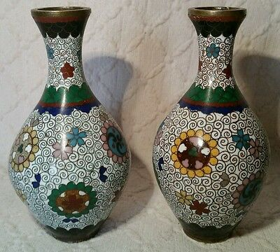 Small Antique Pair Of White Cloisonne Vases With Colourful Decoration