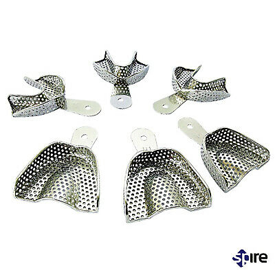 Dental Impression tray Stainless Steel perforated medium Upper and lower Set