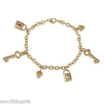 SEXY GOLD 18k GP CHARM BRACELET with KEY-PADLOCK-HEART CHARMS 20cm Adjustable