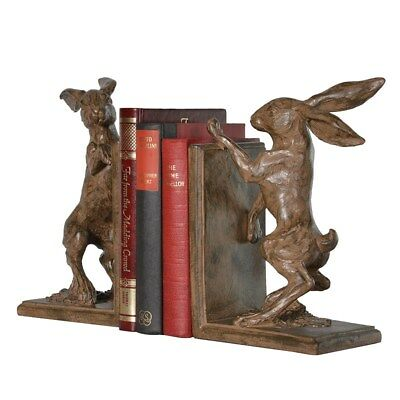 Stunning Crafted Resin Boxing Hare Bookends with felted bases. 19 x 13 x 9cm