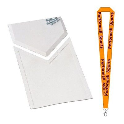 Champion Sports Bundle: Homeplate Extension White + 1 Performall Lanyard HPX-1P