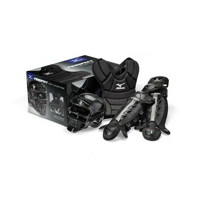 (33cm ) - Mizuno Prospect Youth Boxed Catchers Gear Set, Black. Unbranded